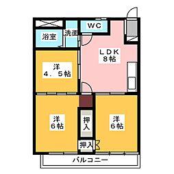 ハイツ城屋敷[2階]の間取り