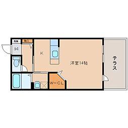 近鉄大阪線 大和八木駅 徒歩12分の賃貸アパート 1階ワンルームの間取り