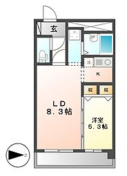 X−OVER21覚王山[5階]の間取り