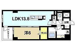 モンパルクいこまNeO 4階1LDKの間取り