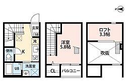 名古屋市営鶴舞線 原駅 徒歩9分の賃貸アパート 2階1SKの間取り