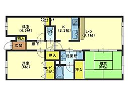 コスモシティ鶴橋駅前[603号室]の間取り