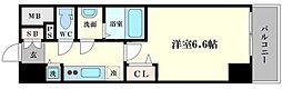 プレサンス京町堀サウス 13階1Kの間取り