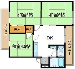 薮田マンション 2階3DKの間取り