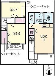 [タウンハウス] 岐阜県海津市南濃町松山 の賃貸【/】の間取り