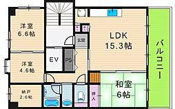 ハイツ・エムーユ[6階]の間取り