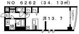 セレッソコート上本町EAST (F1タイプ)[10階]の間取り