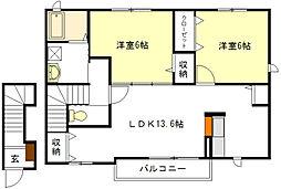 ディアコートB棟[2階]の間取り