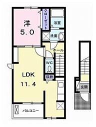 愛媛県松山市古川北2丁目の賃貸アパートの間取り