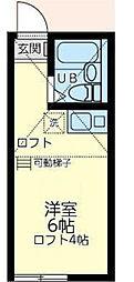 東急東横線 東白楽駅 徒歩7分の賃貸アパート 2階ワンルームの間取り