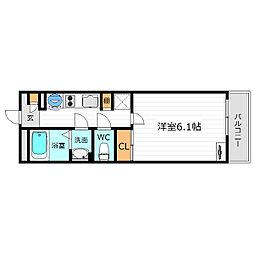 Osaka Metro谷町線 天神橋筋六丁目駅 徒歩13分の賃貸マンション 2階1Kの間取り