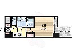 プレサンス錦プレミアム 6階ワンルームの間取り