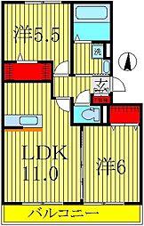 エクレールB棟[3階]の間取り