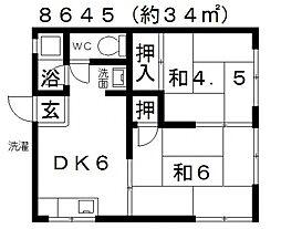 甲陽苑[208号室号室]の間取り