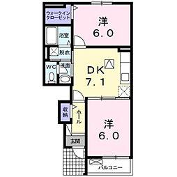 JR鹿児島本線 福工大前駅 徒歩17分の賃貸アパート 1階2DKの間取り