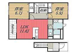 JR総武本線 八街駅 徒歩10分の賃貸アパート 2階2LDKの間取り