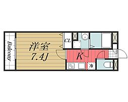 京成本線 公津の杜駅 徒歩8分の賃貸マンション 4階1Kの間取り