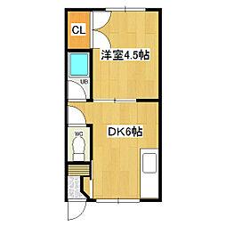 2コーポ川江[8号室]の間取り