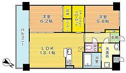 福岡県北九州市小倉北区菜園場1丁目の賃貸マンションの間取り