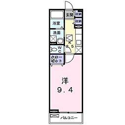 メゾン ド フルール(アパート) 1階1Kの間取り
