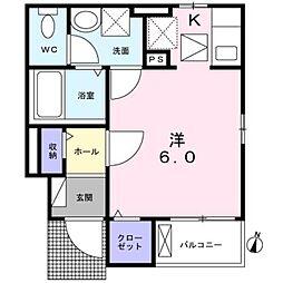 西武新宿線 下井草駅 徒歩4分の賃貸アパート 1階1Kの間取り