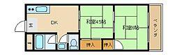 大阪府東大阪市吉田8丁目の賃貸マンションの間取り