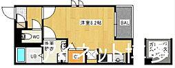 福岡市地下鉄箱崎線 千代県庁口駅 徒歩3分の賃貸アパート 2階ワンルームの間取り