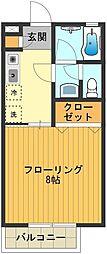 東京都日野市新町3丁目の賃貸アパートの間取り