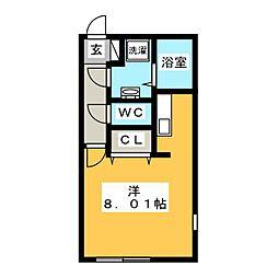 Branche 桜山 III 5階ワンルームの間取り