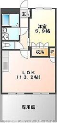 京阪交野線 河内森駅 徒歩12分の賃貸マンション 1階1LDKの間取り