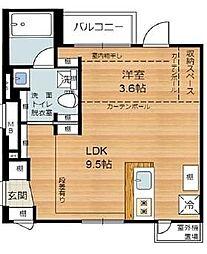 西小山アパートメント 3階1LDKの間取り