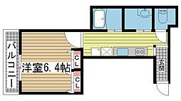 サンビルダー黄能ハウス 4階1Kの間取り
