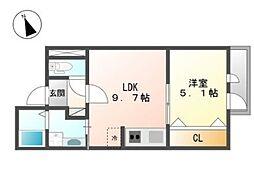 東京都大田区東蒲田2丁目の賃貸マンションの間取り