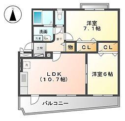 愛知県あま市本郷四反田の賃貸マンションの間取り