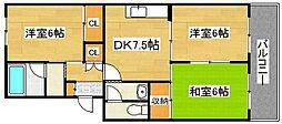 福岡県福岡市早良区野芥4丁目の賃貸マンションの間取り