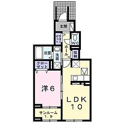スターカレント成田I 1階1LDKの間取り
