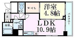阪急千里線 天神橋筋六丁目駅 徒歩6分の賃貸マンション 9階1LDKの間取り