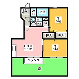 コスモスクェアB[1階]の間取り