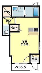 名鉄西尾線 桜町前駅 徒歩5分の賃貸アパート 1階1Kの間取り