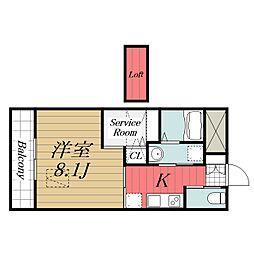 京成本線 公津の杜駅 徒歩8分の賃貸マンション 3階1SKの間取り