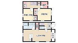 愛知県名古屋市瑞穂区片坂町3丁目の賃貸アパートの間取り