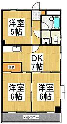 サンハイツ東大和[4階]の間取り