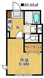 千葉県鎌ケ谷市富岡2丁目の賃貸アパートの間取り