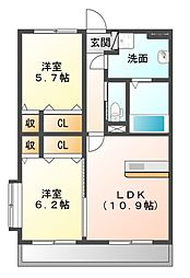 (仮)ユーミー瀬高駅西A棟[2階]の間取り
