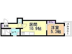 マハロ 2階1LDKの間取り