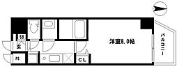 EARTHMANS OSAKA-JO 3階1Kの間取り