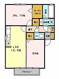 埼玉県上尾市西宮下2丁目の賃貸アパートの間取り