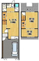 [一戸建] 大阪府羽曳野市はびきの4丁目 の賃貸【/】の間取り