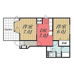 JR総武本線 八街駅 徒歩12分の賃貸アパート 1階2DKの間取り