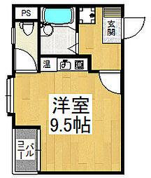 レグレットハマヤI 3階ワンルームの間取り